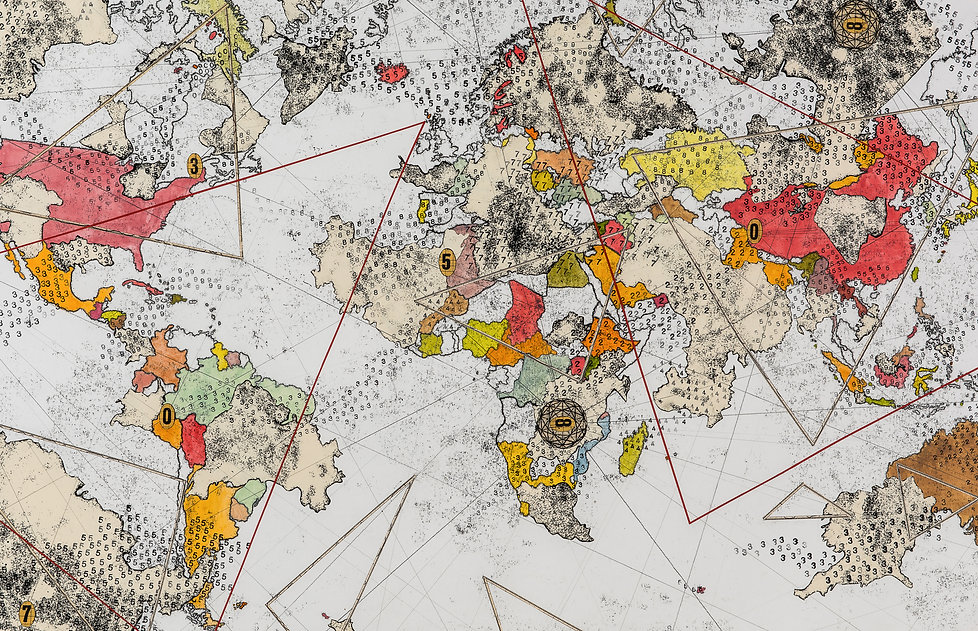 shift, monotype, collage, drawing, ellipse, continents, countries, data stream, borders, mia diener