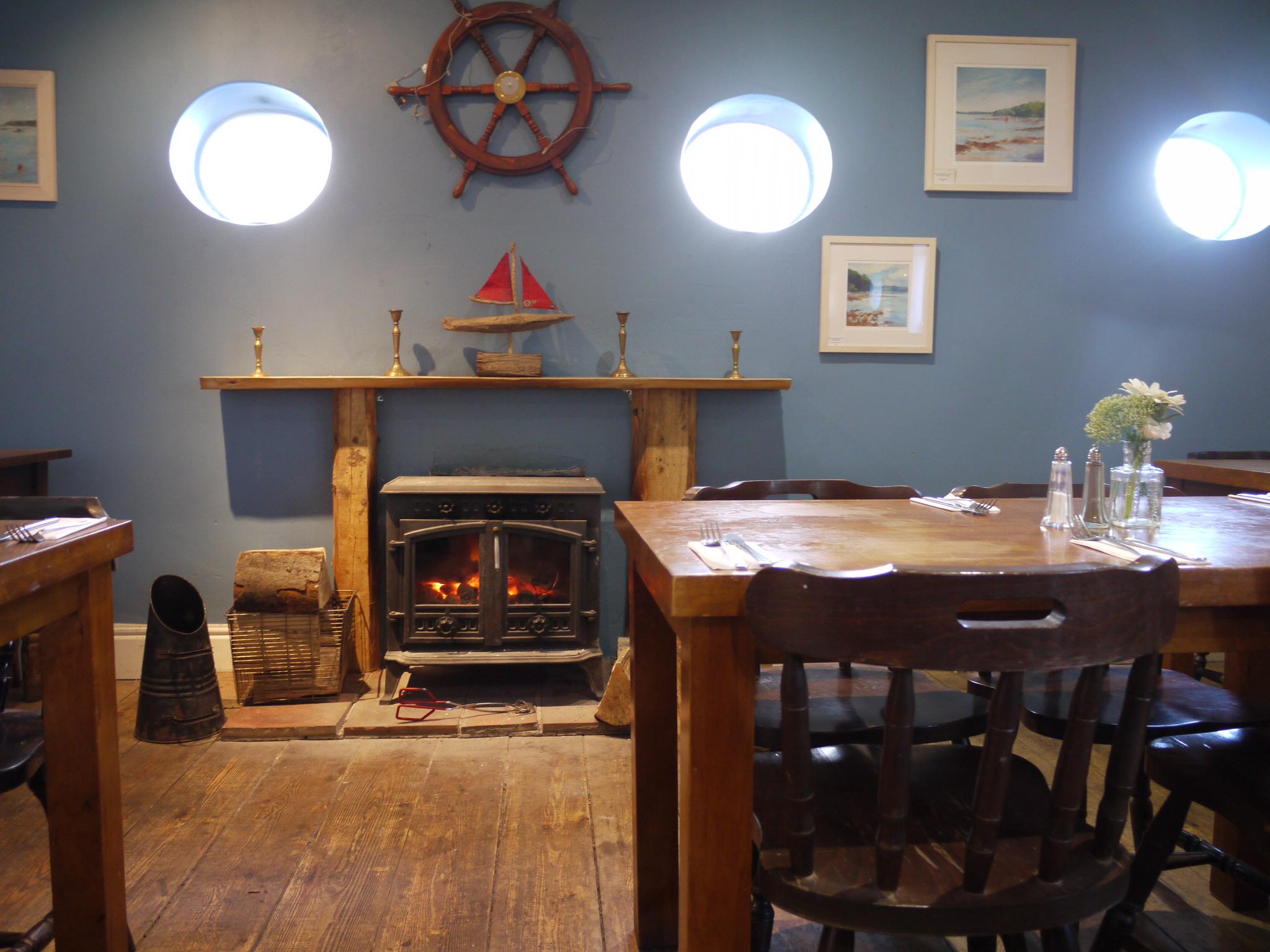Restaurant with log burner