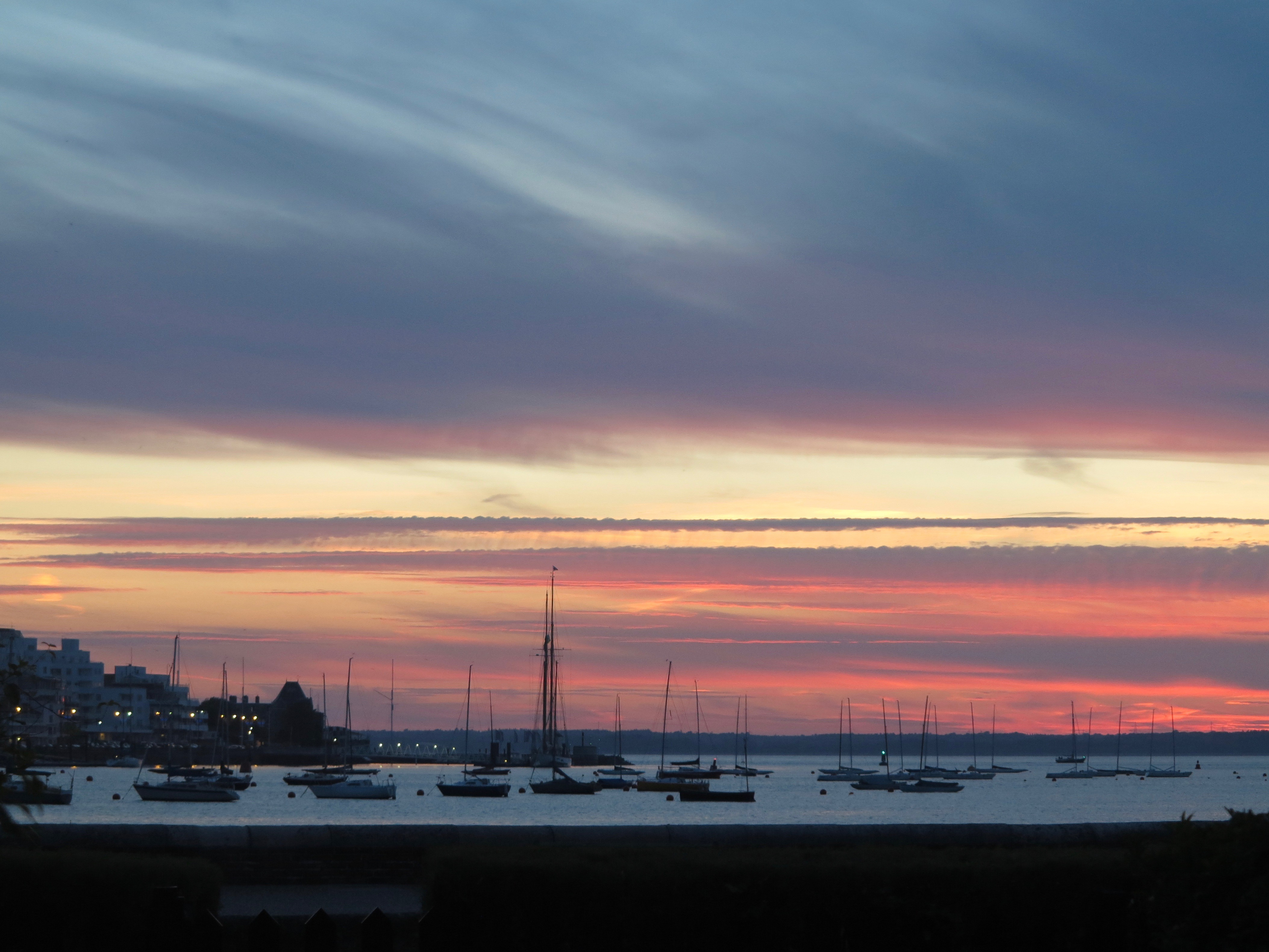 Sunset across Cowes harbour