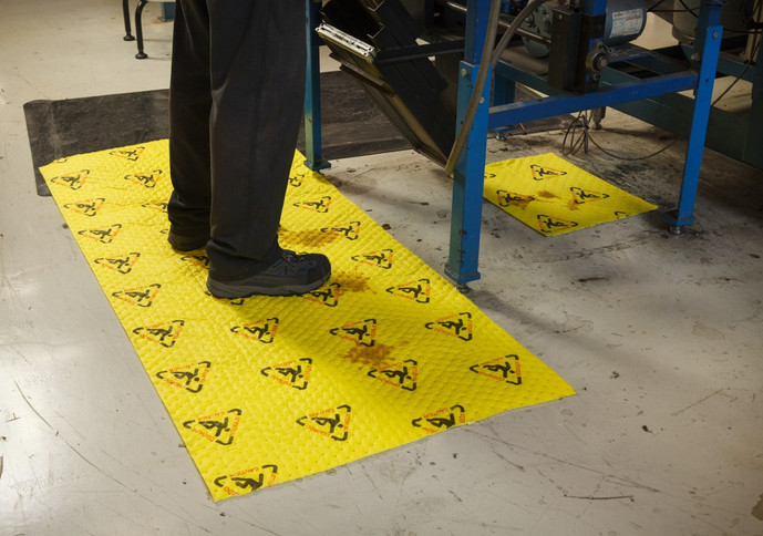 High visibility chemical safety mat absorbent