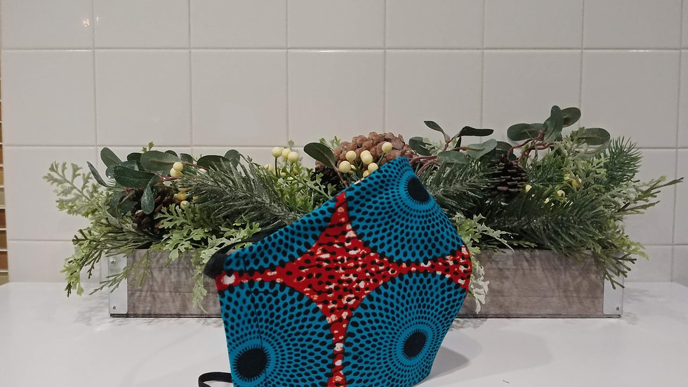 Aqua Blue and Red Fish head COVID-19 Mask