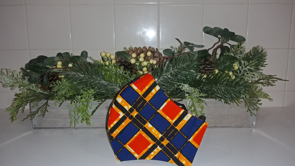 Orange & Blue squares COVID-19 Mask