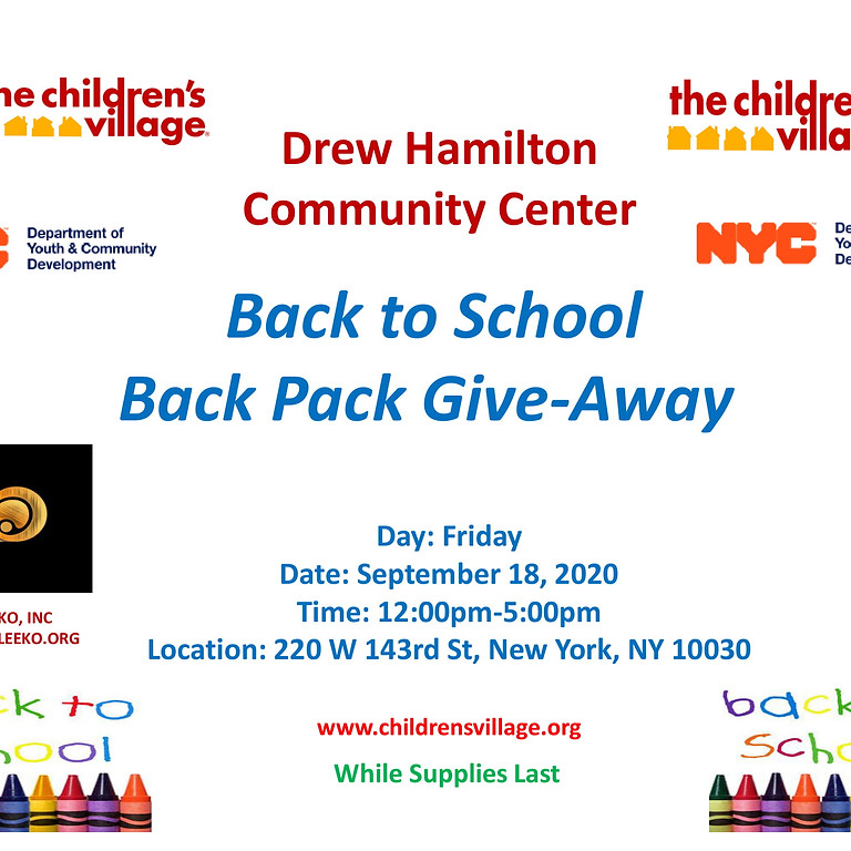 Back to School Back Pack Give-Away
