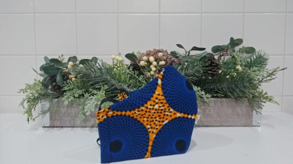 Royal Blue and Yellow 'Fish head' COVID-19 Mask