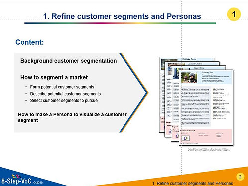 Step 1 Refine customer segments and Personas