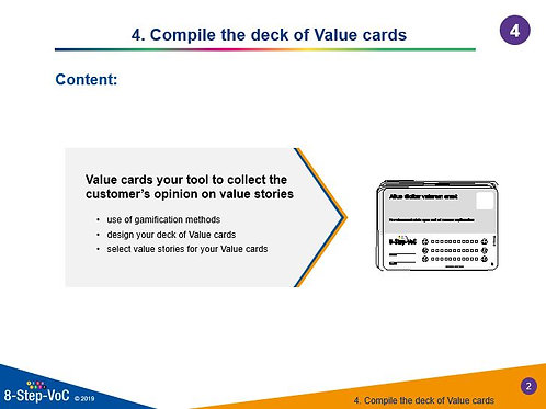 Step 4 Compile the deck of value cards