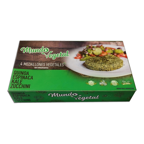 Mundo Vegetal - Hamburguesas Veganas - Zucchini, Quinoa, Kale y Espinaca