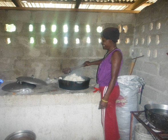 Woman cooking rice