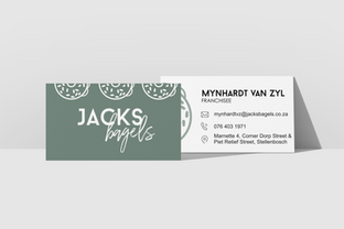 Jacks Bagels business card