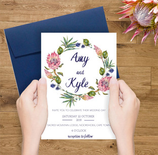 Protea wedding invite
