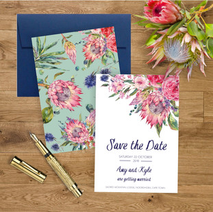 Protea wedding save the date