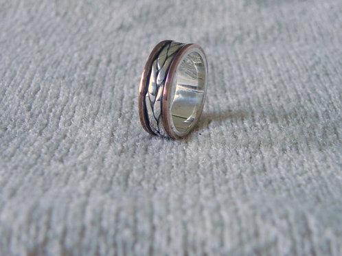 Anel Trança de prata e cobre