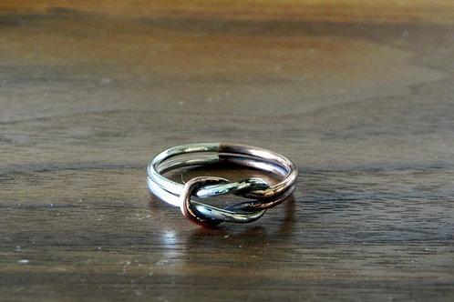 Anel Nó em prata e cobre