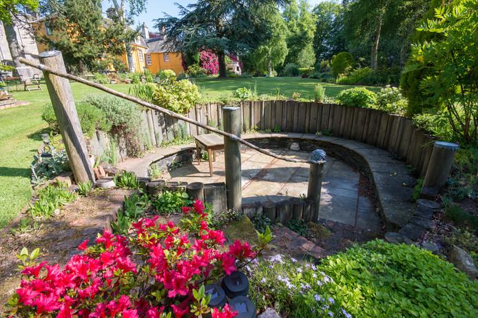 Steps down to sunken garden
