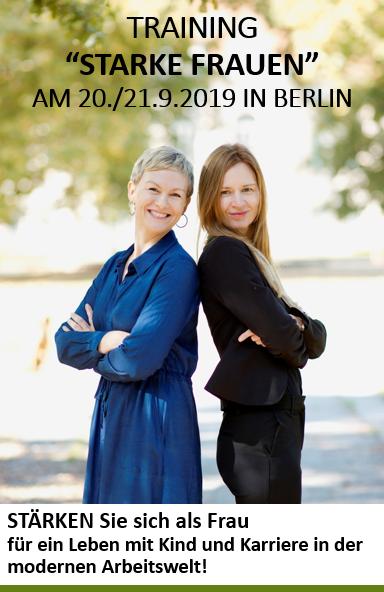 Karen Heinrichs (SAT1-Moderatorin und Kommunikations- und Verhaltenstrainerin) und Susan Frenz (Wirtschaftsmediatorin und Personalmanagerin) und haben ein praktisches Training für Frauen entwickelt. Als Mütter von je zwei Kindern und Frauen mit Fulltimejobs wissen wir: Im Alltagstrubel vergisst man viel zu oft sich selbst. Wir möchten ihnen zu mehr Klarheit über ihre eigenen Bedürfnisse verhelfen und Wege im Umgang mit stressigen Lebensphasen aufzeigen. Lernen Sie mit handfesten Übungen, wie Sie Job und Familie auf gesunde und achtsame Weise vereinen. Entdecken Sie ihre Stärken und setzen Sie diese im Arbeitsalltag gezielt und selbstbewusst ein. Nehmen Sie die heutigen digitalen Chancen wahr und rüsten Sie sich für die Herausforderungen im Berufsalltag! Wir unterstützen Sie dabei, Ihre persönlichen und positiven Überzeugungen zu festigen, ihr Energiemanagement und die eigene Leistungsfähigkeit zielgerichtet zu optimieren, um den vielfältigen Ansprüchen, die an Frauen gestellt werden, gerecht zu werden. Also: Nutzen Sie Ihr gesamtes Talent und lassen Sie uns gemeinsam schauen,  wie Sie auch in schwierigen Momenten souverän, gelassen und wirkungsvoll handeln. Training am 20. und 21. September in Berlin: Freitag von 9.00 – 17.30 Uhr, Samstag bis 14.30 Uhr. Tagungsort: EDEN STUDIOS, Breite Strasse 43 / 13187 Berlin – gut erreichbar mit U2, S2 (S+U Pankow) und M1 (Pankow Kirche).   Rückfragen oder Anmeldungen: susan.frenz@gmx.de – die maximale Teilnehmerzahl liegt bei 12, der Teilnahmebeitrag beträgt 295 Euro zzgl. Mehrwertsteuer. Wir senden gerne ein Anmeldeformular zu.