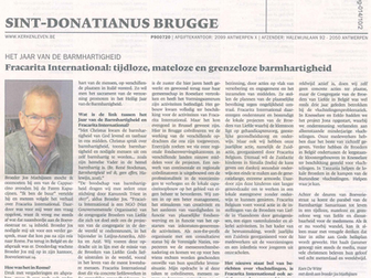 Article about Fracarita International in catholic paper 'Kerk & Leven'