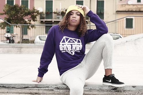 Felpa girocollo viola logo classic bianco