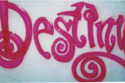 Airbrush Design Destiny Name Swirly Letters Cute - A0080