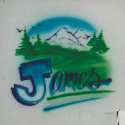 Airbrush Design Name Mountains Scenery Natural Beauty Hiking - A0089