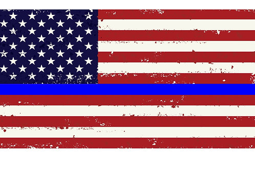 Printed Auto Tag - Thin Blue Line full color