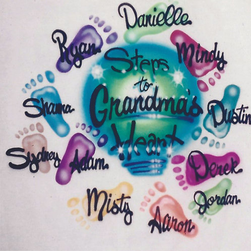 Airbrush Design Grandma's Heart Love Family Tree Children Names  - A0084