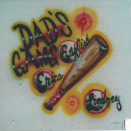 Airbrush Design Dad's Gang Family Tree Names Baseball - A0078