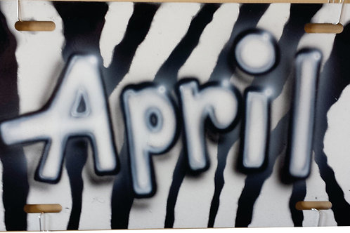 Airbrush Auto Tag Name Black and White Zebra Print - AT0017