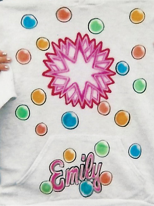 Airbrush Design Bubbles Colors Rainbow Name - A0065