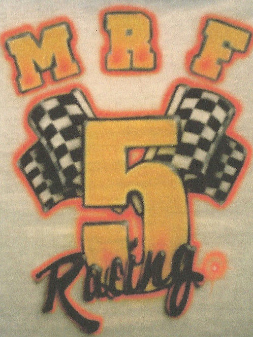 Airbrush Design Car Racing Team Number Flags Name - A0099