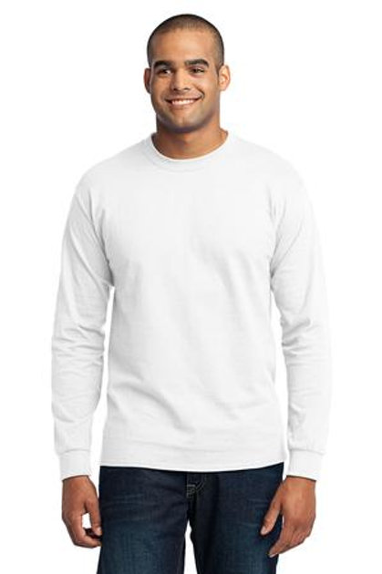 White and Light Heather Long Sleeve Adult Tshirt