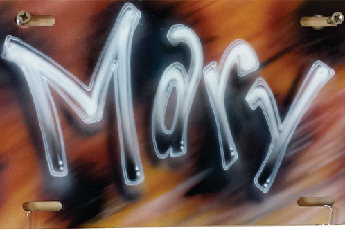 Airbrush Design Auto Tag Name with Orange Background - AT0012