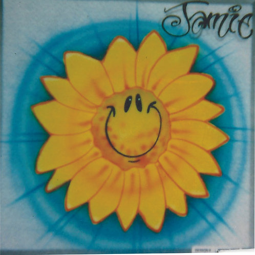 Airbrush Design Sunflower Smiley Face - A0044