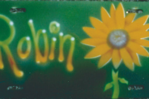 Airbrush Design Auto Car Tag Name Sunflower Green - AT0004