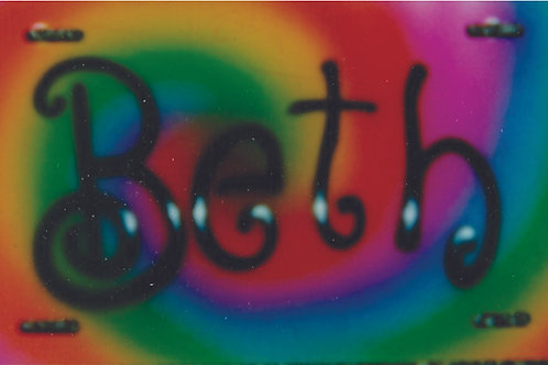 Airbrush Design Auto Car Tags Name Swirly Rainbow Colors -AT0002