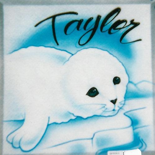 Airbrush Design White Seal Name - A0094