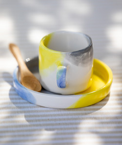Conjunto de café aguarela
