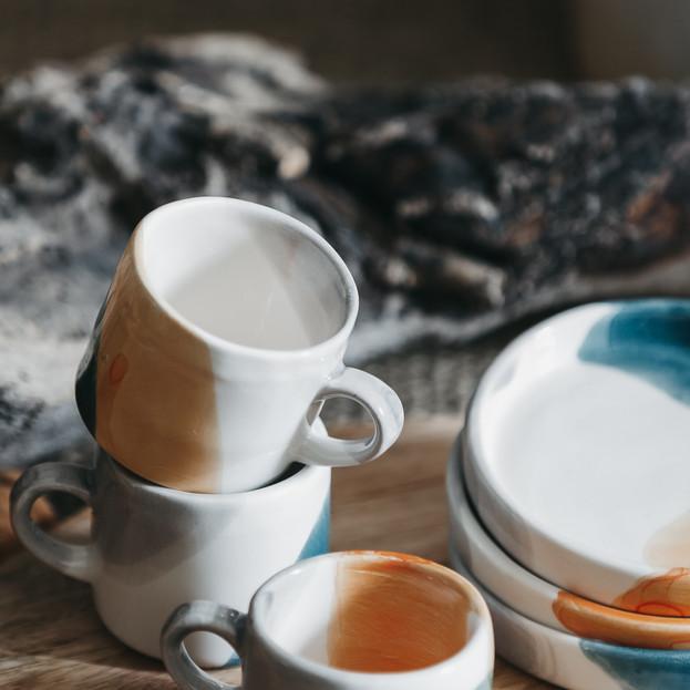 Chávena de café e prato Aguarela