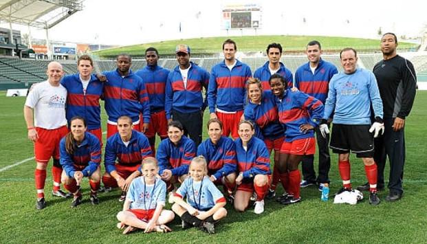 Clark Gregg playing soccer