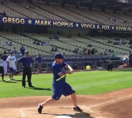 Clark hitting the baseball