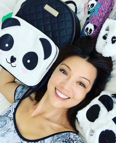 Ming-Na with her new addition to her panda collection!