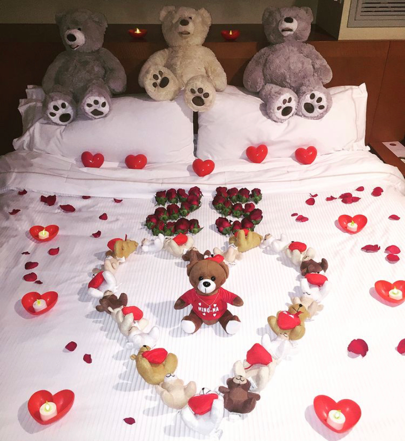 Eric set up 25 roses and bears for their 25th Valentine's