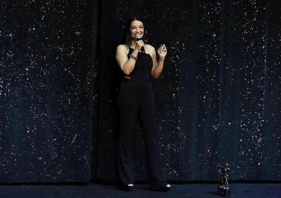 Ming-Na making her speech at the 2018 Artemis Action Paladin Award