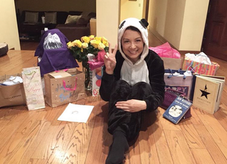 Ming-Na on her 54th birthday, in her panda onesie
