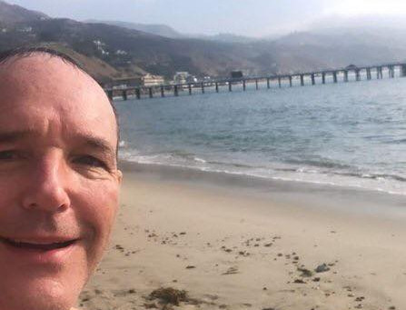 "Clark Gregg ""catches"" the waves this morning"