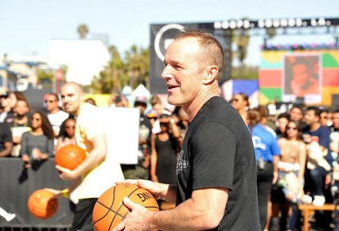 Clark Gregg playing basketball