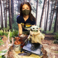 Ming-Na with Baby Yoda at Sideshow Collectibles