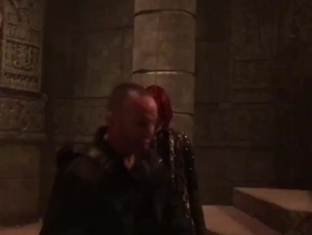 Sarge (Clark Gregg) with Stunt woman Caitlin Dechelle