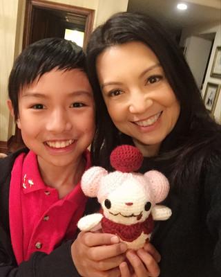 Ming-Na with Cooper and Amigurumi Slurpuff