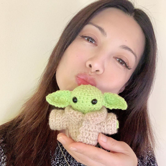 Ming-Na with Amigurumi Baby Yoda
