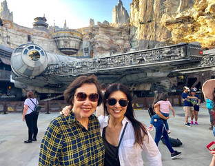 Ming-Na with her Mom and the Millennium Falcon